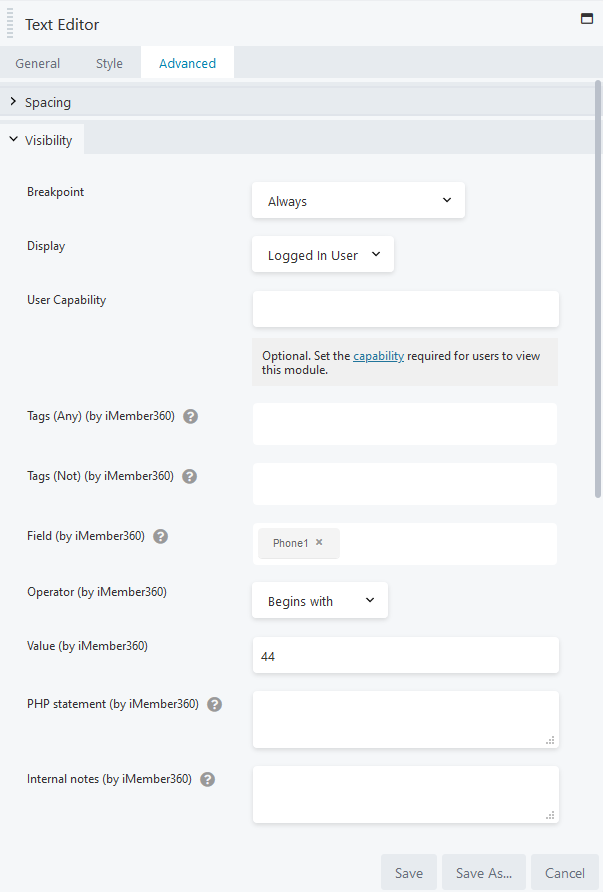 Beaver Builder Module/Column/Row Display Settings Example 5