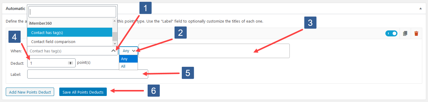 Configuring Add New Points Deduct For Contact Tag