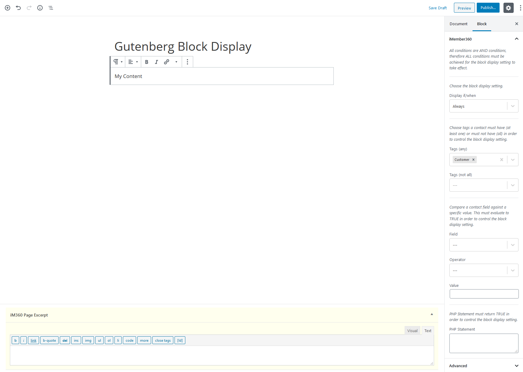 Gutenberg Block Display Settings Example 1