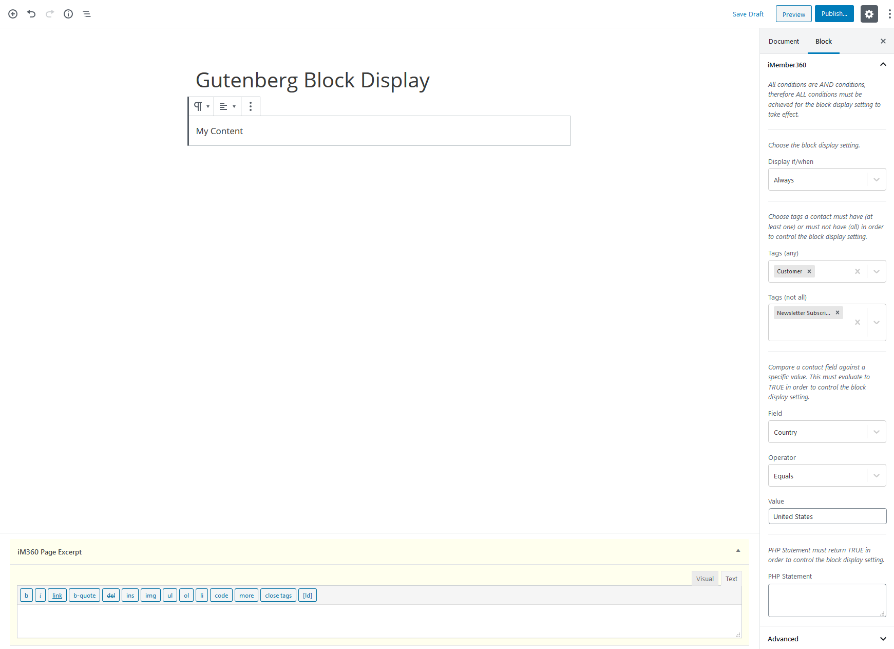 Gutenberg Block Display Settings Example 3