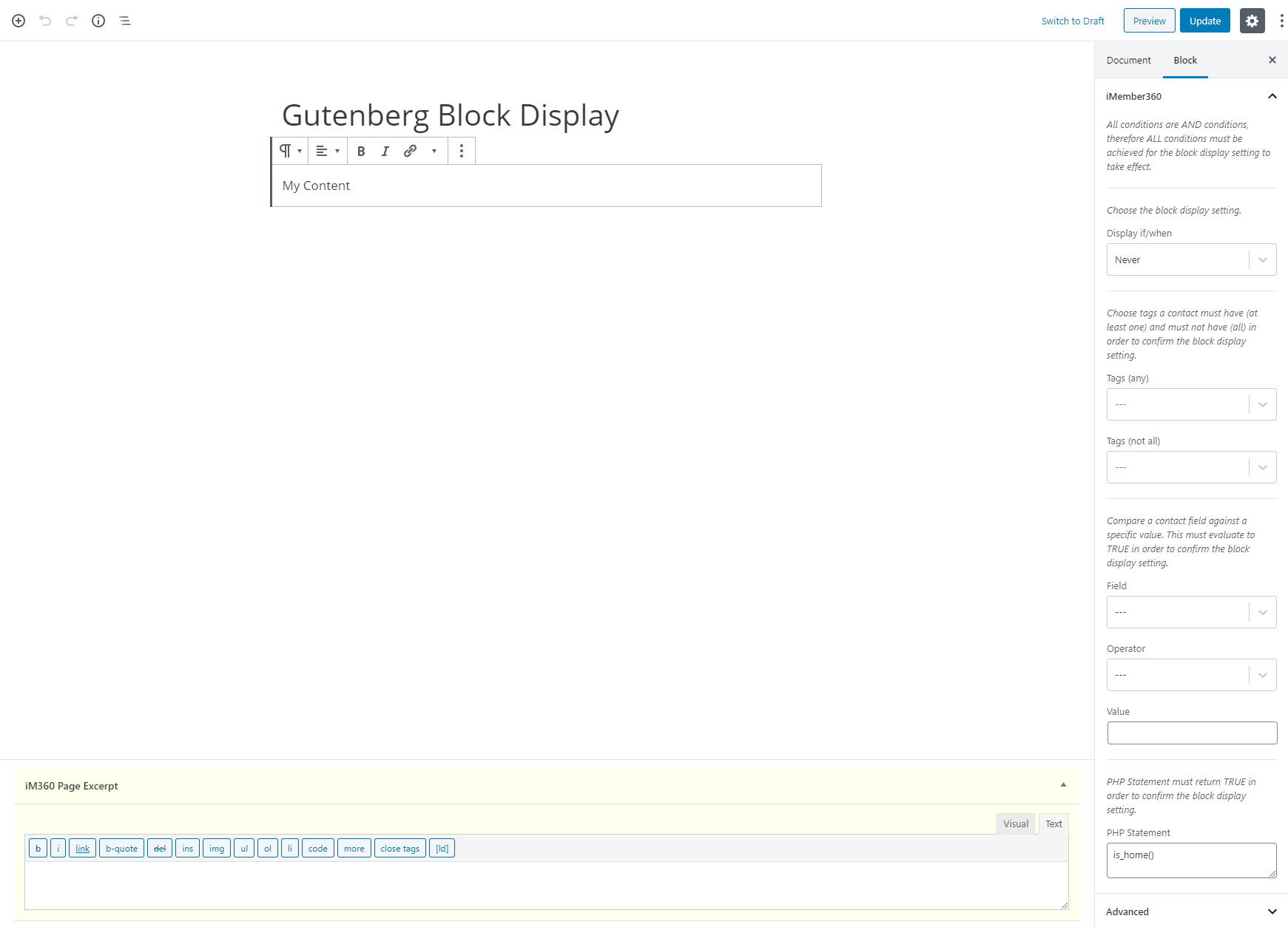 Gutenberg Block Display Settings Example 4