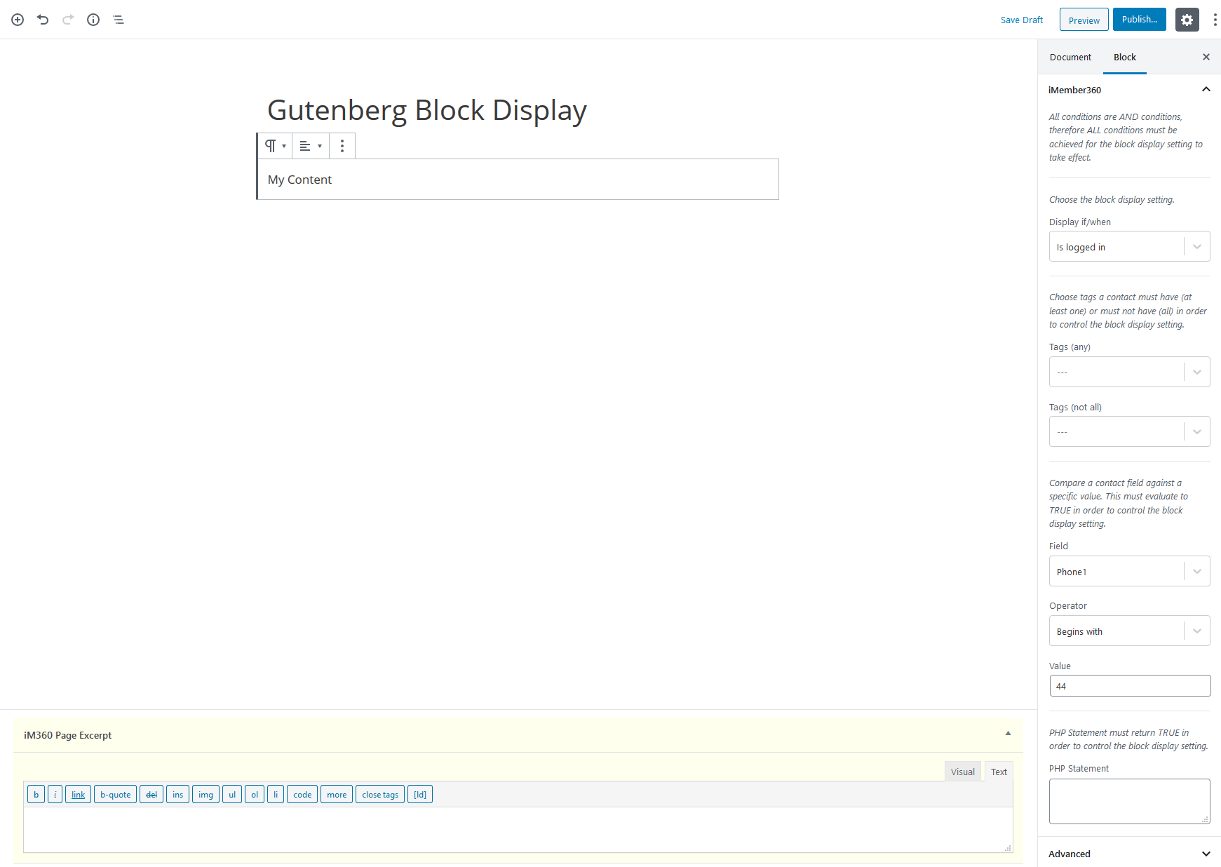Gutenberg Block Display Settings Example 5